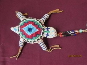 Hand Beaded Turtle Shaped Amulet - Umbilical Cord