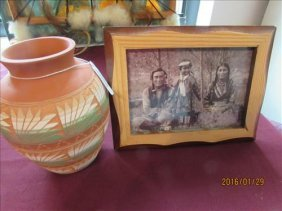 Framed Indian Photo In Wyoming And Indian Pottery