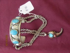Sterling Silver?, Turquoise Stones And Wolf Claw