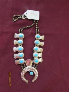 Necklace - Turquoise Look On Silver Tone - 24""