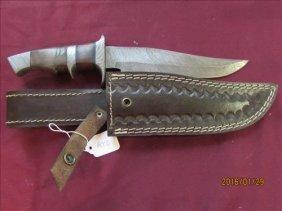 Damascus Steel Knife - Double Stitched Leather Sheath