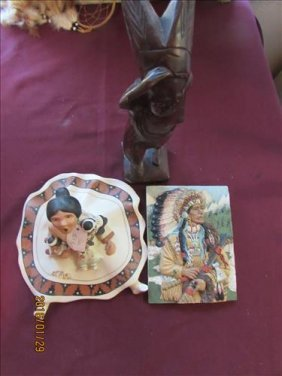 3 Pc - Hopi Sun Squaw , Wooden Indian & Indian Chief