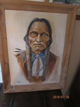 Framed American Indian Oil On Canvas Painting By
