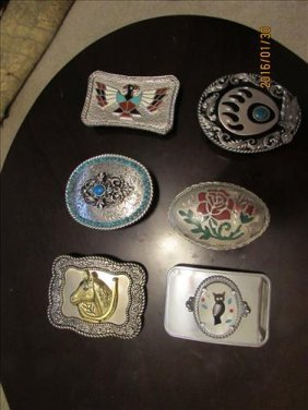 6 Belt Buckles All Silver Tone Misc. Designs