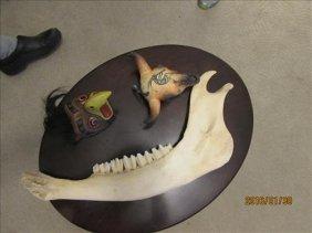 Buffalo Jaw Bone, Signed Ceramic Skull And Bird Wall
