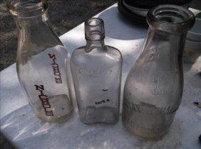 3 Glass Bottles-bryant & Chapman Milk, Nichols Milk