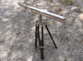 Vintage Telescope On Wood Tripod