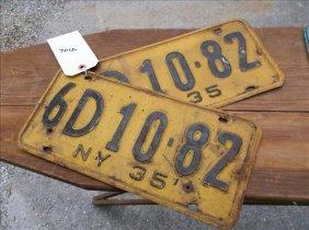 2 License Plates-new York 1935