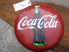 "1990 Coca-cola Round Domed Sign 12""diam"
