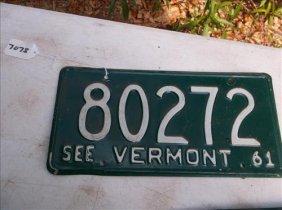 1 License Plate-vermont 1961