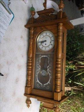 "Ridgeway Pendulum Oak Wall Clock W/key 36""h"