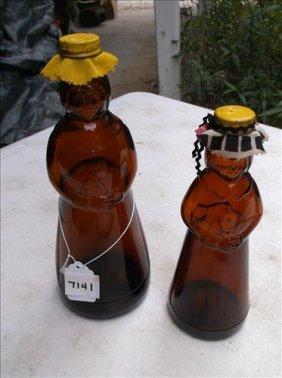 2 Mrs. Butterworth Aunt Jemima Brown Syrup Bottles