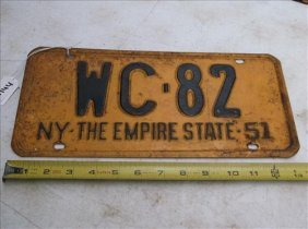 1 License Plate-new York 1951