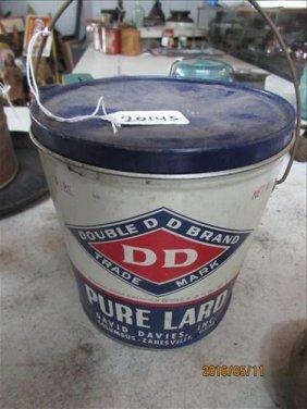 "Vintage Can Dd Brand Pure Lard 6x6"""