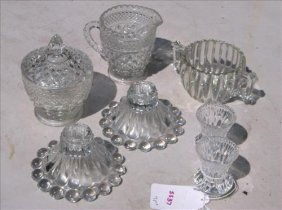 7 Pcs. Glass-sugar&creamer, Candle&toothpick Holders
