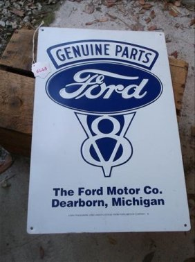 Ford V8 Genuine Parts Dearborn, Michigan Metal Sign