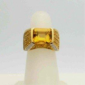 14kyg Citrine & Diamond Ring