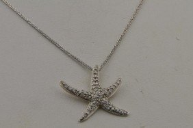 14k Wg  Diamond Starfish Pendant Necklace