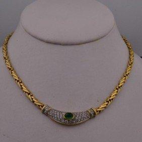 18k Yg  Lady's  Emerald & Diamond Necklace