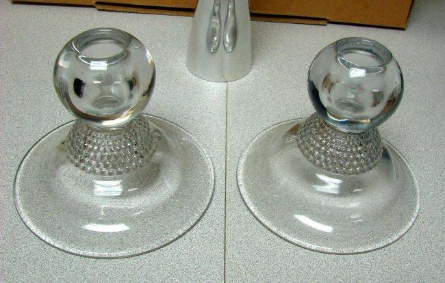 Duncan Miller Tear Drop Candle Holders Nambe Vase Lot 132