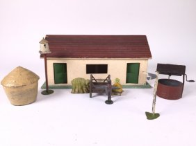 Farm House With Assorted Barnyard Accessories