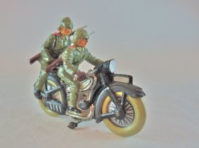 Lineol German Army Movable Wheels Motorcycle