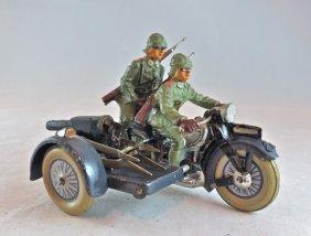 Lineol German Motorcycle Gun On Side-car