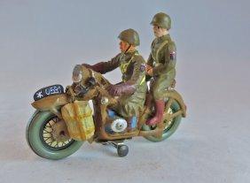 Elastolin Postwar Us Motorcycle W/rider