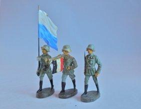 Scarce Elastolin Bavaria Flag+fanfare Trumpet