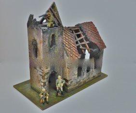 Elastolin Copy Bombed Church+3 German Soldiers