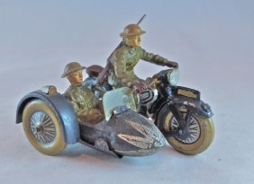 Scarce Lineol Us Motorcycle W/off In Sidecar