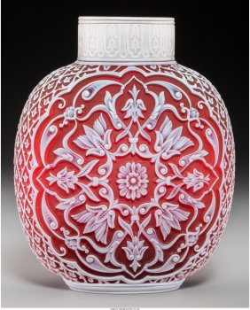 A Thomas Webb & Sons Red Cameo Glass 1889 Paris