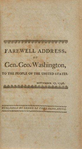 [George Washington]. Farewell Address Of Gen. Ge