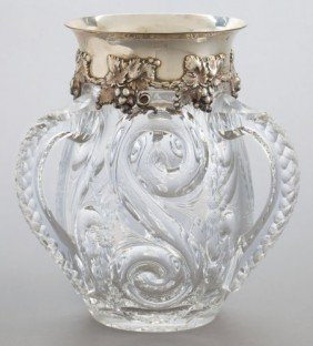 A TIFFANY SILVER AND CUT GLASS LOVING CUP  Tiffa