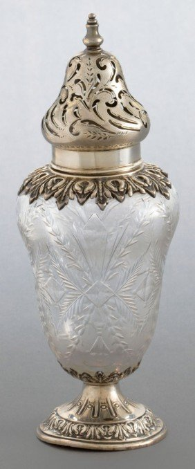 A DURGIN SILVER AND CUT GLASS SHAKER  Wm. B. Dur