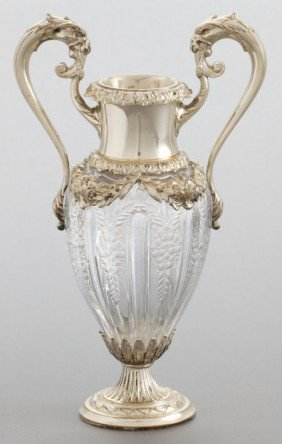 A DURGIN SILVER AND CUT GLASS TWO-HANDLED VASE