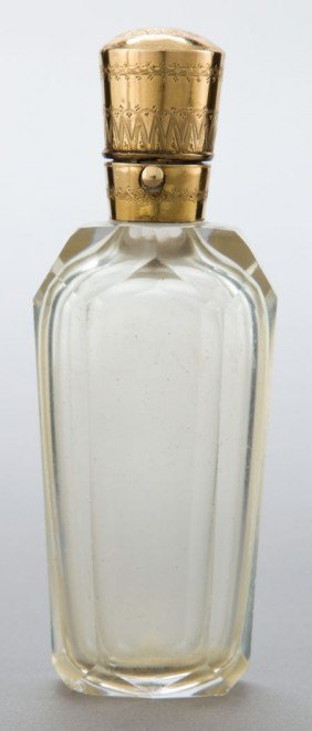 A DUTCH ROCK CRYSTAL AND 10K GOLD PERFUME BOTTLE