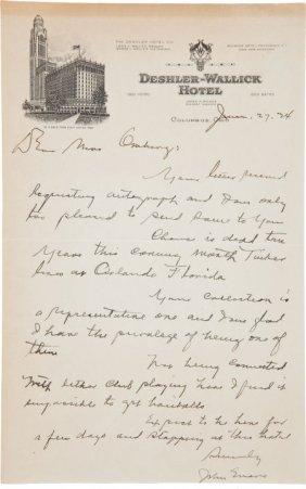 1934 Johnny Evers Handwritten Signed Letter Ment