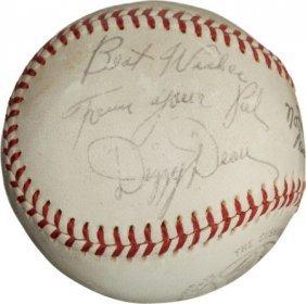 1950's Dizzy & Daffy Dean Dual-Signed Baseball.