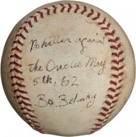 1962 Bo Belinsky No-Hitter Game Used Baseball.