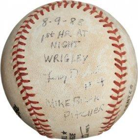1988 First Wrigley Field Night Game Home Run Bas