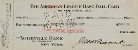 1925 New York Yankees Check For Purchase Of Leo