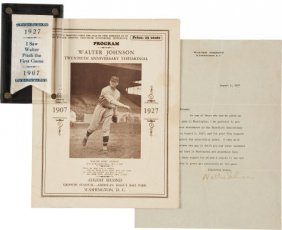 1927 Walter Johnson Twentieth Anniversary Signed