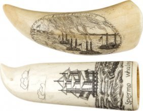 A Scrimshawed Whale's Tooth And A Scrimshawed Bo