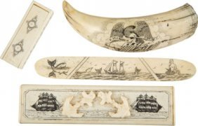 Lot Of Four Assorted Contemporary Scrimshawed It