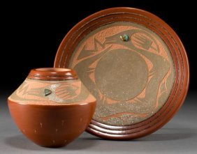 TWO SAN ILDEFONSO REDWARE ITEMS Russell Sanchez