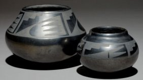 TWO SAN ILDEFONSO BLACKWARE JARS Maria And Julia