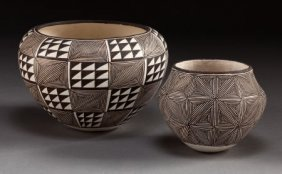TWO ACOMA BLACK-ON-WHITE JARS Lucy M. Lewis C. 1
