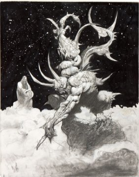 Simon Bisley Satan Defiant Illustration Original