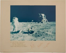 Apollo 11 Large Color Photo, Crew-Signed On Mat,